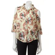 About A Girl Cold-Shoulder Chiffon Button-Front Top - Juniors