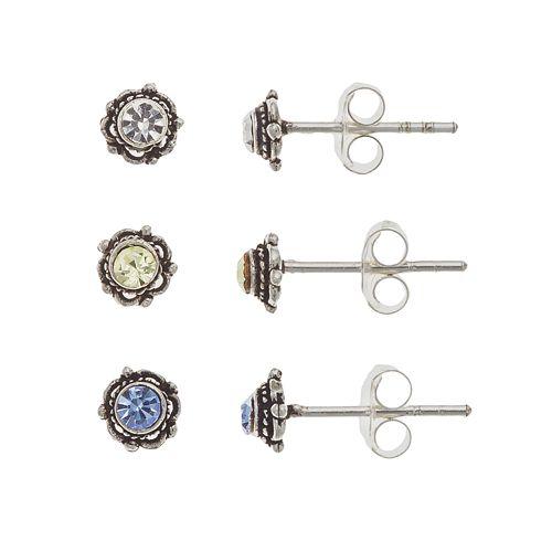 Sterling Silver Cubic Zirconia Flower Stud Earring Set