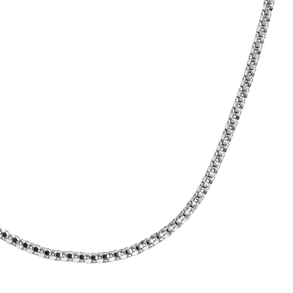 Sterling Silver Diamond-Cut Popcorn Chain Necklace
