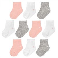 Baby Girl Jumping Beans® 10-pk. Solid Crew Socks