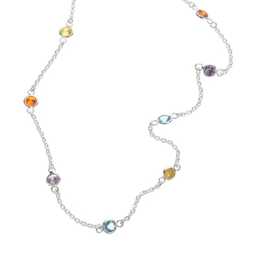 Sterling Silver Crystal Necklace – 18-in.