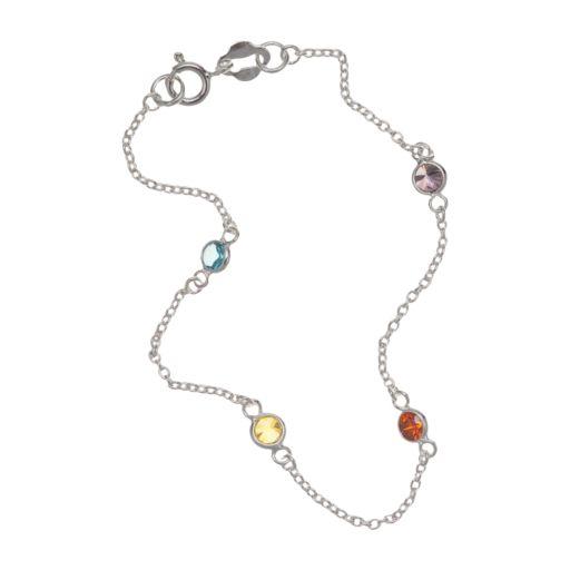 PRIMROSE Sterling Silver Crystal Stone Bracelet