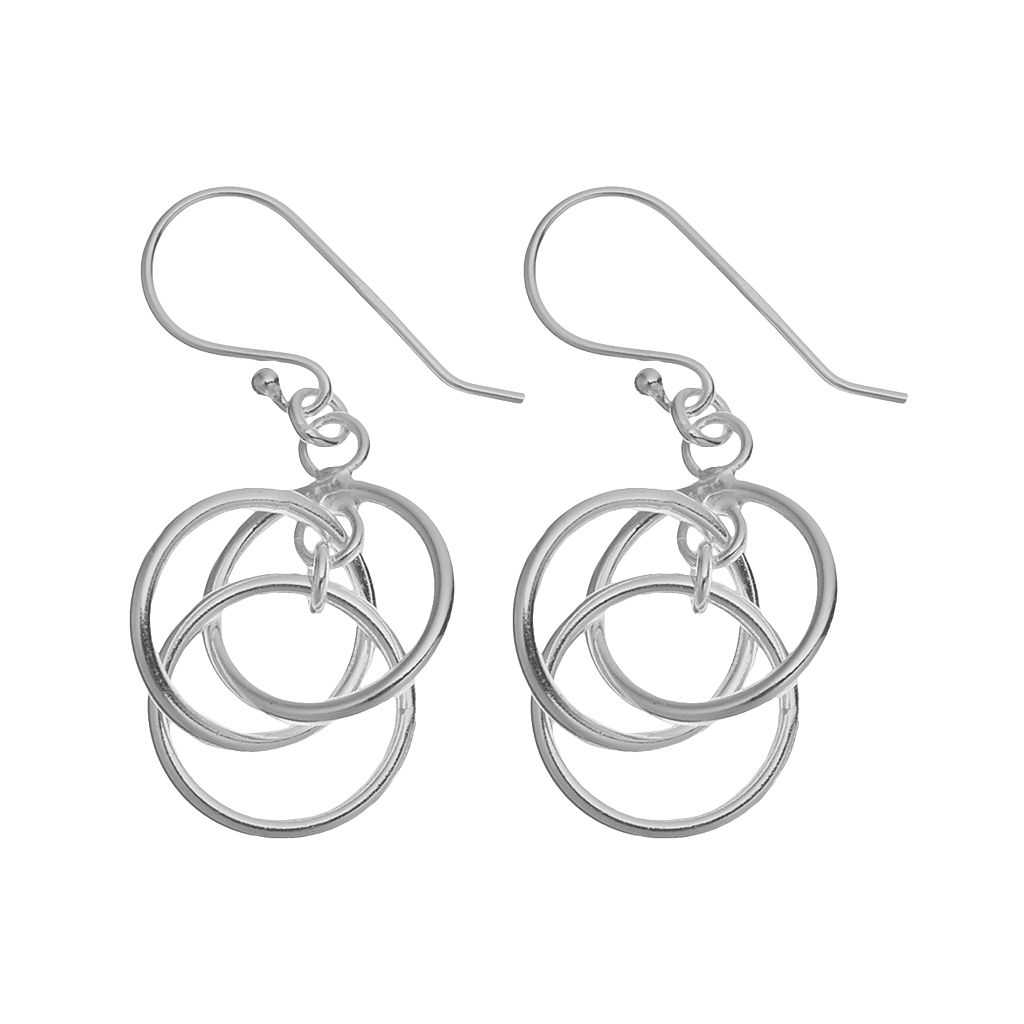 Sterling Silver Triple-Circle Earrings