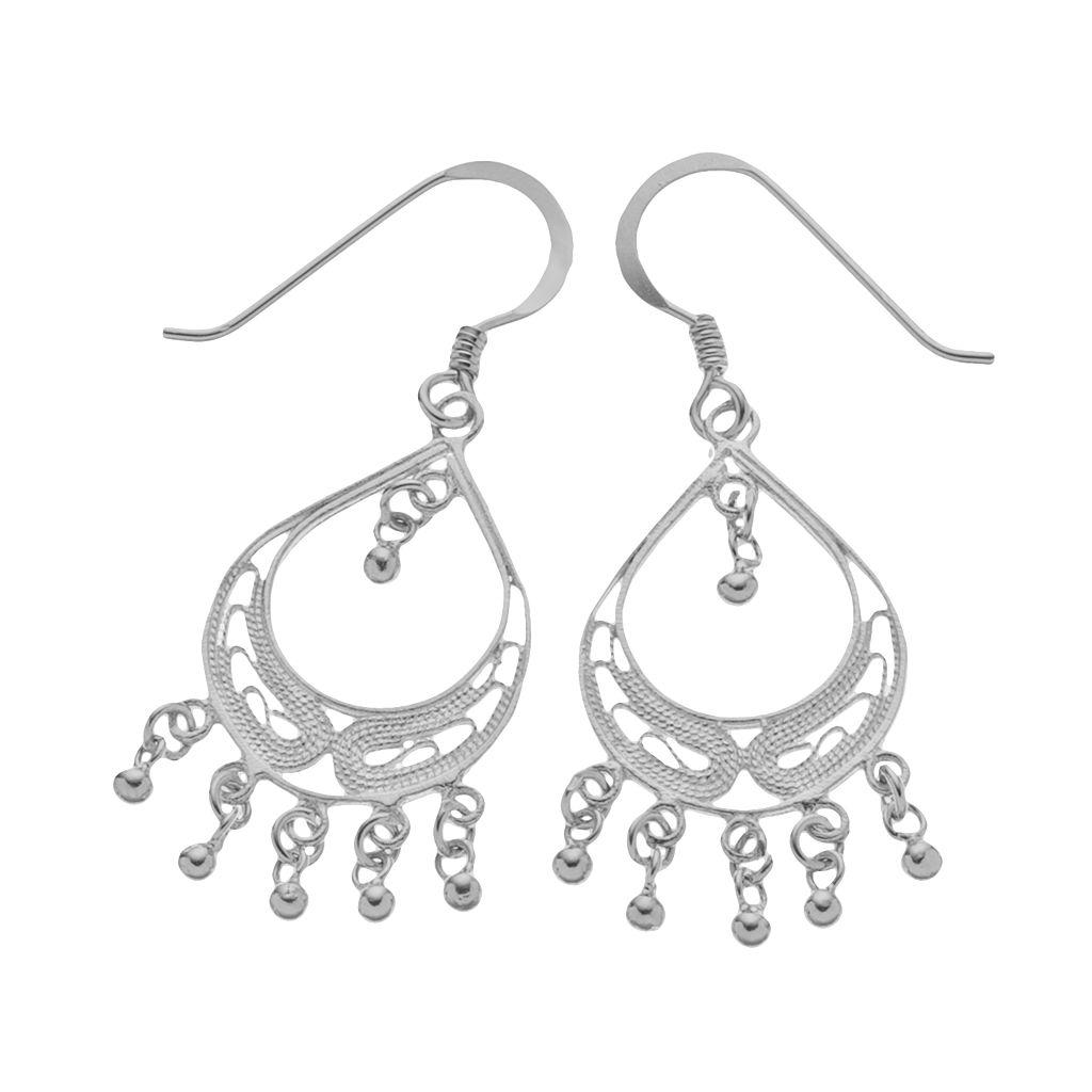 Sterling Silver Filigree Drop Earrings