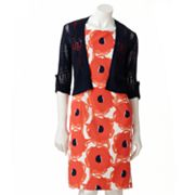AB Studio Floral Sheath Dress and Cardigan Set