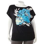 Wrapper Floral Satin Top - Juniors' Plus