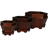 nearly natural 3 pc Hexagon Decorative Planter Set