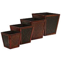 nearly natural 4 pc Square Decorative Planter Set
