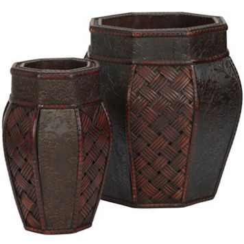 nearly natural 2-pc. Weave & Floral Decorative Planter Set