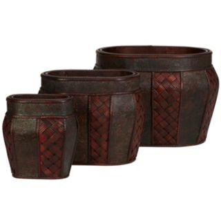 nearly natural 3-pc. Oval Decorative Planter Set