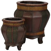 nearly natural 2 pc Round Decorative Planter Set