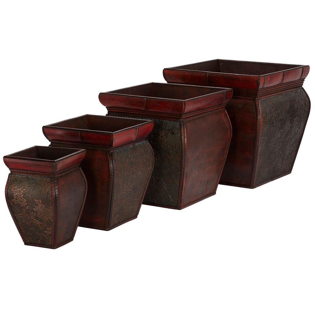 nearly natural 4-pc. Square Floral Decorative Planter Set