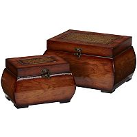 nearly natural 2 pc Lacquered Wood Chest Set
