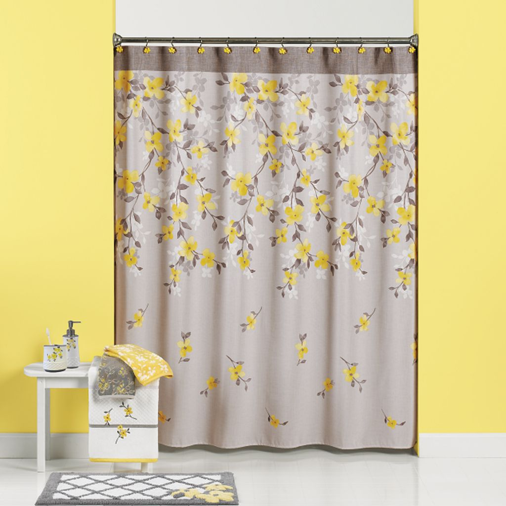Spring Garden Floral Fabric Shower Curtain