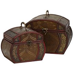 nearly natural 2 pc Floral Decorative Chest Set