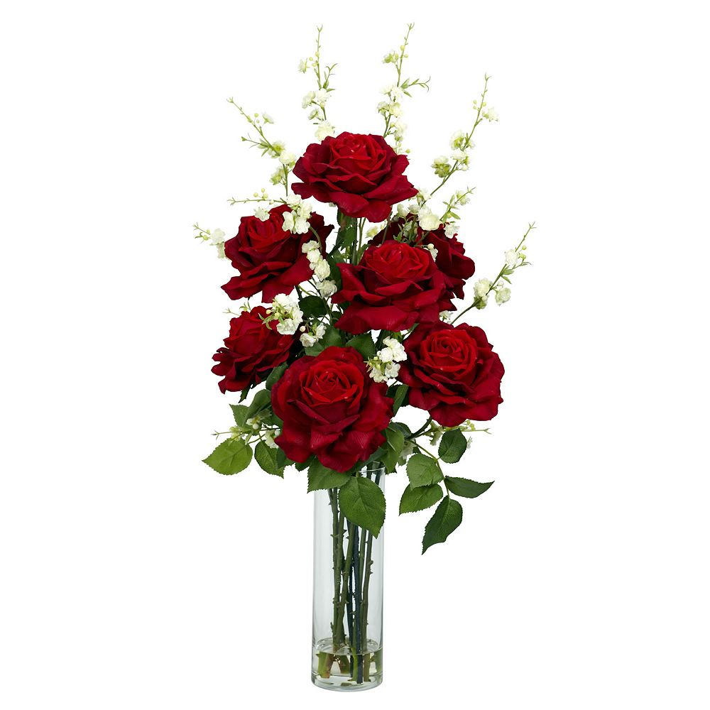 nearly natural Liquid Illusion Silk Rose & Cherry Blossom Floral Arrangement