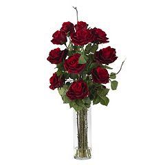 nearly natural Liquid Illusion Silk Rose Floral Arrangement
