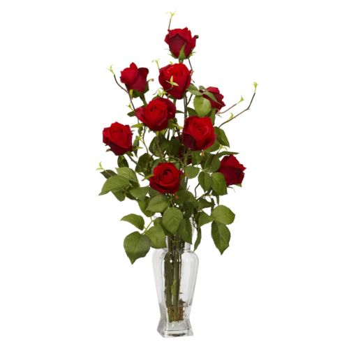 nearly natural Liquid Illusion Silk Rosebud Floral Arrangement
