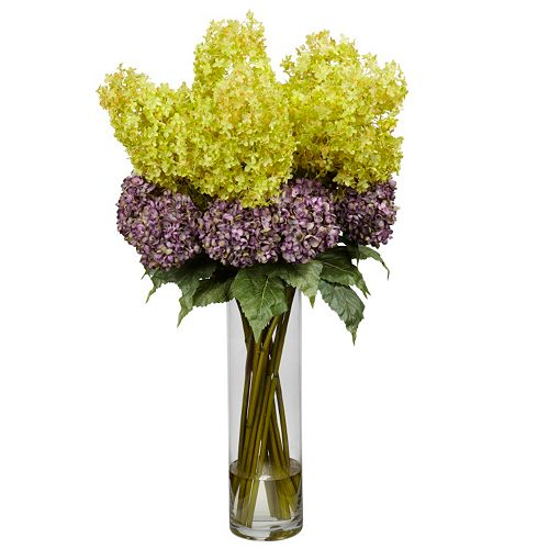 nearly natural Liquid Illusion Silk Mixed Hydrangea Floral Arrangement