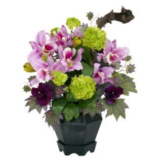 nearly natural Silk Mixed Cattleya and Hydrangea Floral Arrangement