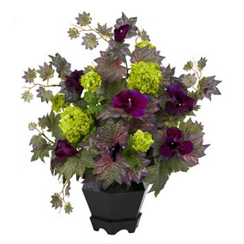 nearly natural Silk Morning Glory & Hydrangea Floral Arrangement