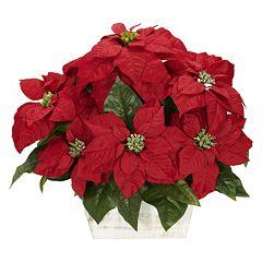 Christmas flower arrangements centerpieces artificial flowers nearly natural silk poinsettia floral arrangement mightylinksfo