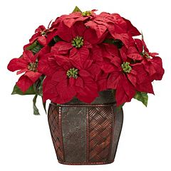 nearly natural Silk Poinsettia Floral Arrangement