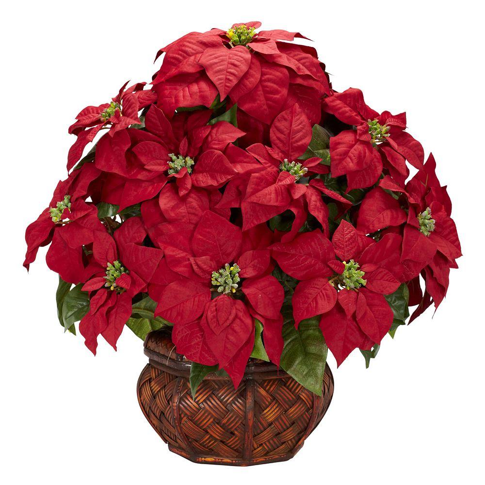 nearly natural Silk Poinsettia Floral Arrangement