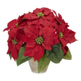 nearly natural Silk Poinsettia & Ceramic Vase Floral Arrangement