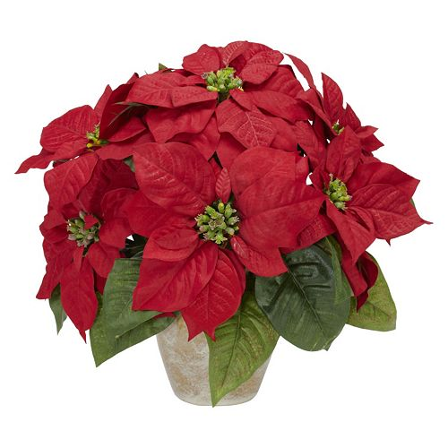 nearly natural Silk Poinsettia & Ceramic Vase Floral Arrangement