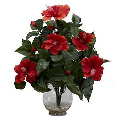 nearly natural Liquid Illusion Silk Hibiscus Floral Arrangement