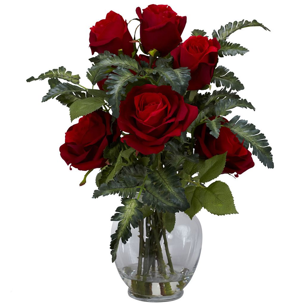 nearly natural Liquid Illusion Silk Rose & Fern Floral Arrangement