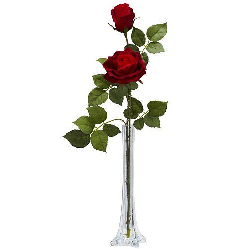nearly natural Liquid Illusion Silk Tall Rose Floral Arrangement