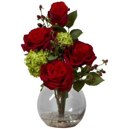 nearly natural Liquid Illusion Silk Rose and Hydrangea Floral Arrangement