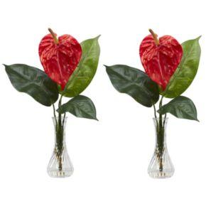 nearly natural 2-pc. Liquid Illusion Silk Anthurium Floral Arrangement