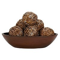 nearly natural 6 pc Wicker Ball Set