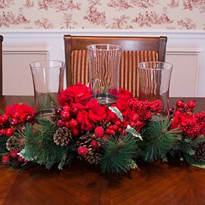 nearly natural Hydrangea Christmas Candelabrum Centerpiece
