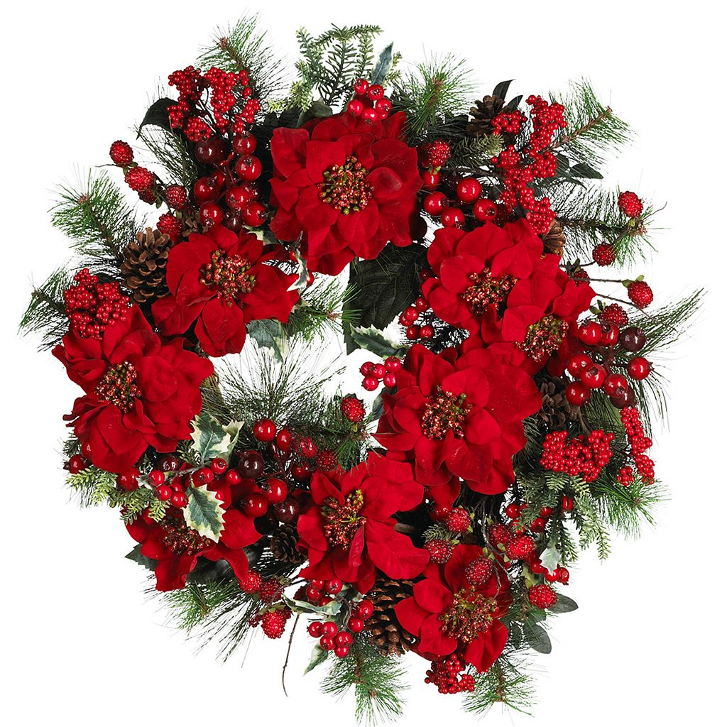 nearly natural Poinsettia Wreath