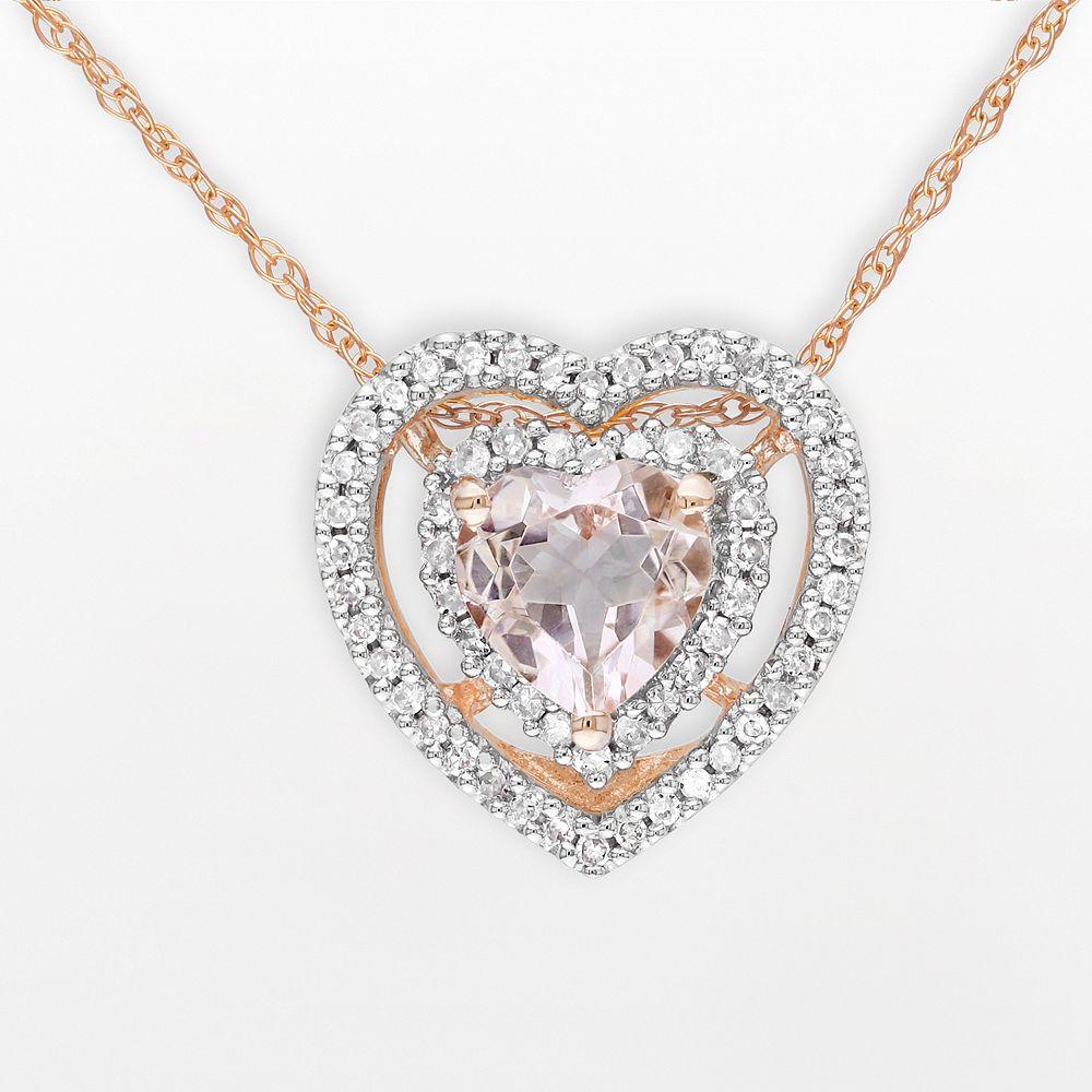 10k Rose Gold 1/5-ct. T.W. Diamond & Morganite Heart Pendant
