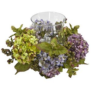 nearly natural Silk Mixed Hydrangea Candelabrum Centerpiece