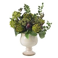 nearly natural Silk Artichoke & Hydrangea Arrangement