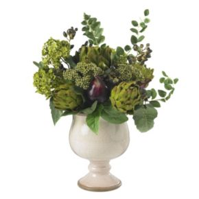nearly natural Silk Artichoke and Hydrangea Arrangement