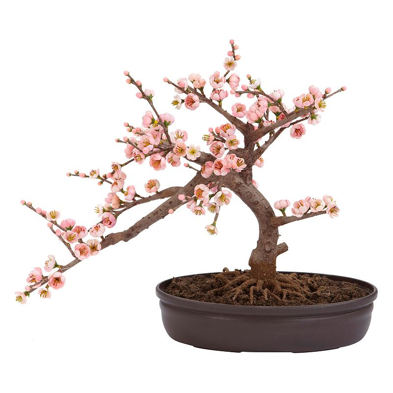 nearly natural Silk Cherry Blossom Bonsai Tree, Pink Low planter and exposed roots offer natural style. 15H x17 1/2W x 10D (overall) Planter:11W x2 1/2H x 6 1/2D Polyester/plastic Wipe clean  Size: One Size. Color: Pink. Gender: unisex. Age Group: adult. Material: silk.