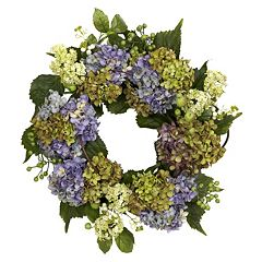 nearly natural 22-in. Silk Hydrangea Wreath