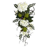 nearly natural 28 in Silk Hydrangea Teardrop Floral Arrangement