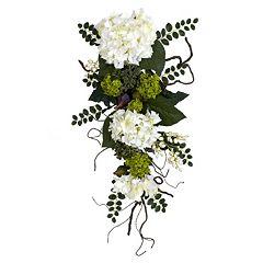 nearly natural 28-in. Silk Hydrangea Teardrop Floral Arrangement