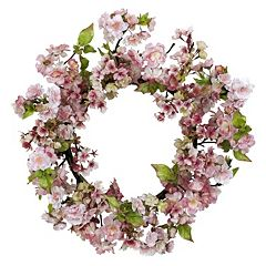 nearly natural 24 in Silk Cherry Blossom Wreath