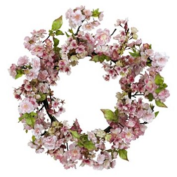 nearly natural 24-in. Silk Cherry Blossom Wreath