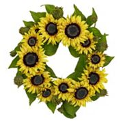 nearly natural 22 in Silk Sunflower Wreath