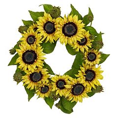 nearly natural 22-in. Silk Sunflower Wreath